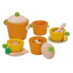 Plan Toys legemad i træ te sæt farvet-20