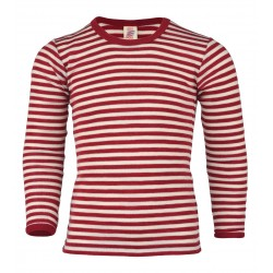 Engel langærmet bluse uld rød/natur-20