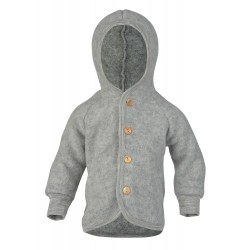 Engel jakke med hætte i økologisk uldfleece grå-20