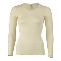 Engel dame langærmet T-shirt uld and silke natur-20