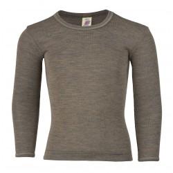 Engel langærmet bluse uld and silke valnød-20