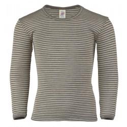 Engel langærmet bluse uld and silke valnød/natur stribet-20