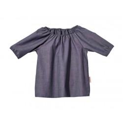 Cotonea bluse med 3/4 ærme chambray gråblå-20