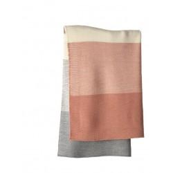 DISANA babytæppe økologisk uld rosé/grå stribet-20