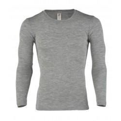 Engel herre langærmet t-shirt uld and silke grå-20