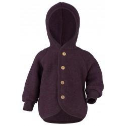 Engel jakke med hætte i økologisk uldfleece mørk lilla-20