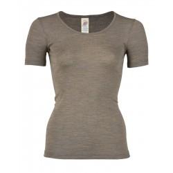 Engel dame kortærmet t-shirt uld and silke valnød-20