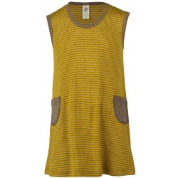Engel kjole uld and silke valnød/safran-20