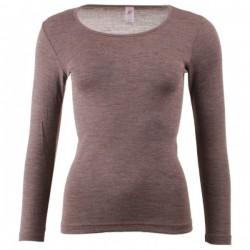 Engel dame langærmet T-shirt uld and silke valnød-20