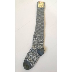 Hirsch knæ-uld-sokker grå and natur-20