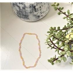 Rav halskæde voksen rav-hvid agat and quartz-20