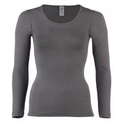 Engel dame langærmet t-shirt uld and silke taupe-20