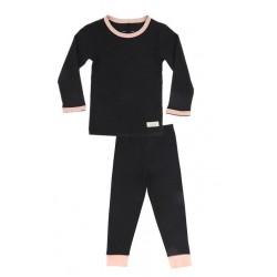 Snork Copenhagen pyjamas black melange m. fersken kant-20