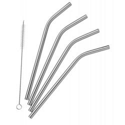 Pulito stål sugerør bøjede 4 stk. incl. børste-20