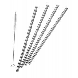 Pulito stål sugerør lige 4 stk. incl. børste-20