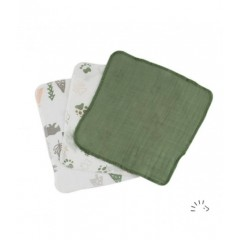 Popolini - 3 små vaskeklude - grønlige nuancer