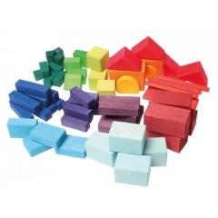 Grimms - geo-byggeklodser - 60 stk. - farvede