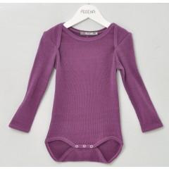 Alkena - langærmet body - bourette silke - mørk lilla