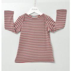 Alkena - langærmet bluse - bourette silke - stribet
