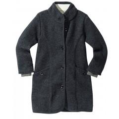 DISANA | lang uldjakke | kogt uld | koksgrå