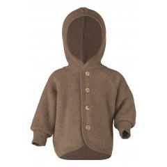 Engel - jakke med hætte i økologisk uldfleece - valnød