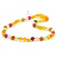 rav halskæde - større børn - rav/quartz/agat/cat-eye