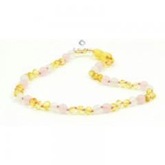 Rav halskæde - baby & barn - rav/hvid agat/quartz