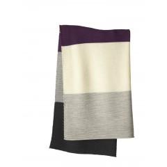 DISANA - babytæppe - økologisk uld - lilla/grå stribet
