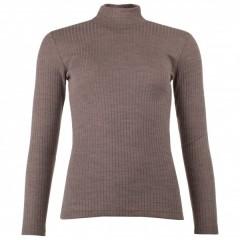 Engel - dame langærmet bluse i rib - uld & silke - valnød