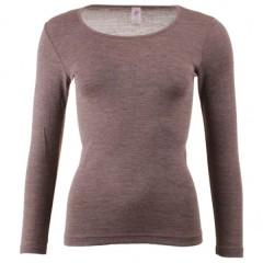 Engel - dame langærmet T-shirt - uld & silke - valnød