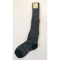 Hirsch - knæ-uld-sokker - sort & grå