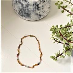 Rav halskæde - voksen - rav-månesten-quartz & labradorit