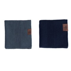 By Lohn - all round cloth - 25x25 cm. - 2 stk. - dark grey & navy