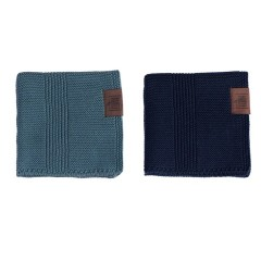 By Lohn - all round cloth - 25x25 cm. - 2 stk. - petrol & navy