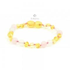 Rav armbånd - baby & barn - rav/hvid agat/quartz