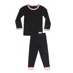 Snork Copenhagen - pyjamas - black melange m. fersken kant